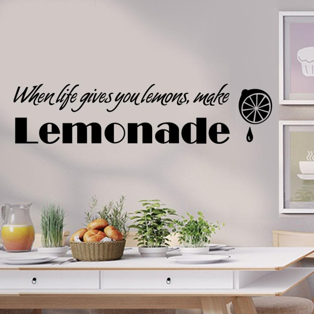 3D Wall Stickers,TPTPT When Life Gives You Lemon To Make Lemonade Kitchen Art Inspiring Wall Stickers (Black)