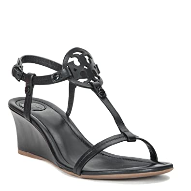 eb0968749abc9e Tory Burch Miller Logo 60mm Black Leather Wedge Sandal (8.5)