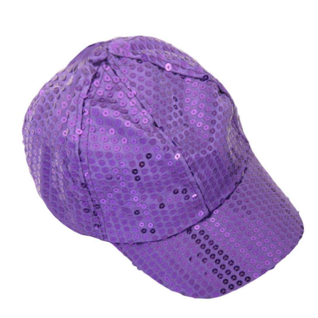 CSSD Fashion Women Ponytail Baseball Cap Sequins Shiny Messy Bun Sun Adjustable Caps (Purple)