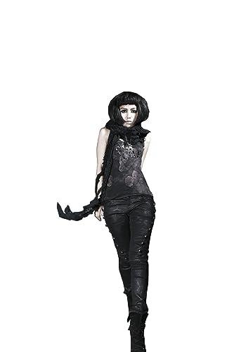 Punk Rave Gothic Skinny Jeans con remaches en los lados Pantalones Pantalones de algod¨®n para las m...