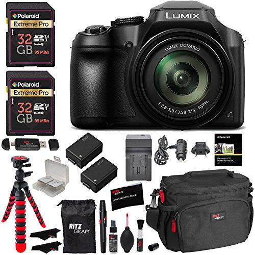 Panasonic Lumix DC-FZ80 Digital Camera, 32GB SDHC Memory Card, 2 Spare Batteries, DSLR Camera Bag, Ritz Gear Cleaning Kit, Tripod and Accessory Bundle