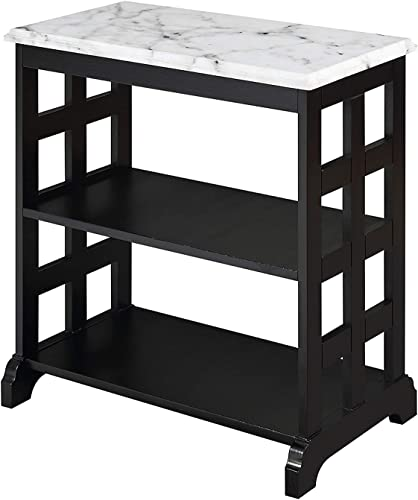 Convenience Concepts American Heritage Baldwin Chairside Table, White Marble Black