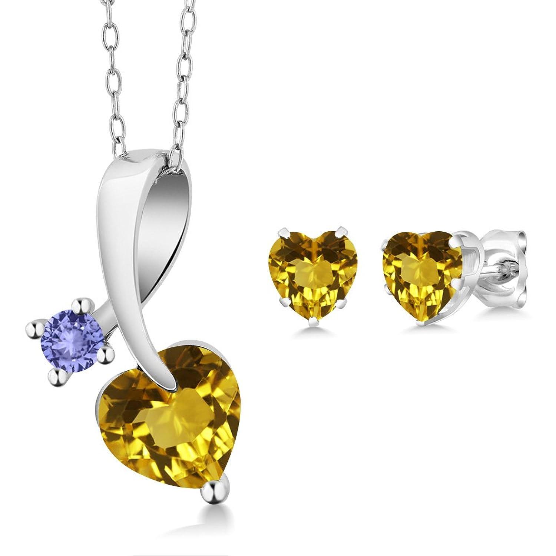 2.09 Ct Heart Shape Yellow Citrine 925 Sterling Silver Pendant Earrings Set