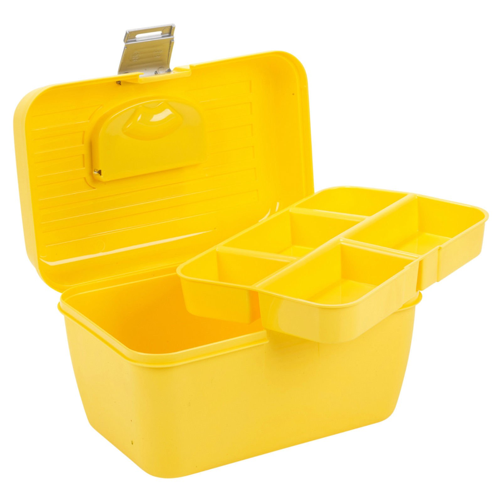 Easygift Products Storage Box With Removable Tray Carry Tool Case With Handle Multi Functional Organiser - Yellow