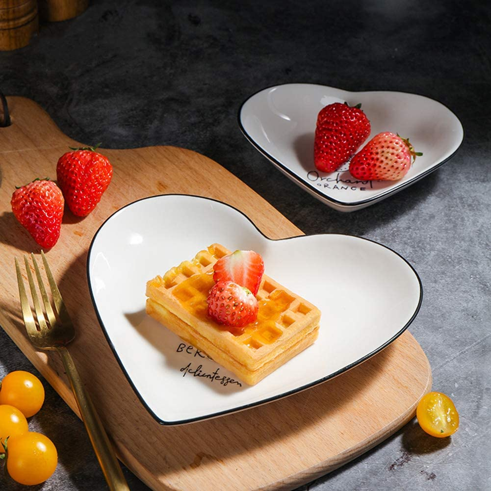 DishyKooker Household 2Pcs//Set Loving Heart Shape Large Small Ceramic Dinner Plates Set white