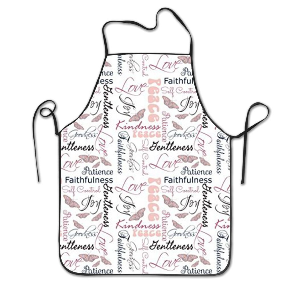 NLKDGS66DS Christian Fruit of The Spirit Butterflies Adjustable Kitchen Chef Apron with Pocket and Extra Long Ties,Commercial Men & Women Bib Apron for Cooking,Baking,Crafting,Gardening,BBQ
