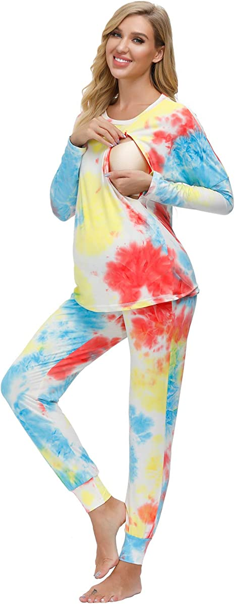 Maacie Damen Stillnachthemd Schwangerschaft Schlafanzug Pyjama Stillfunktion Pyjama Stillzeit Schlafanzug MCA02110