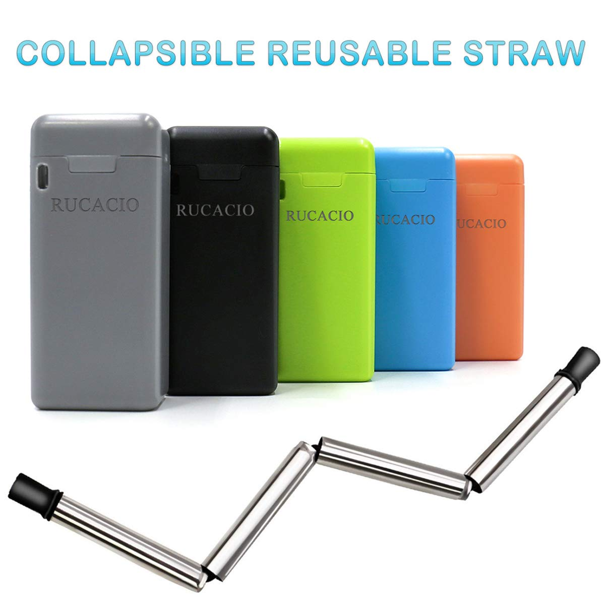 RUCACIO Folding Drinking Straw Stainless Steel, Collapsible Reusable Stainless Straw Medical-Grade Food-Grade Drinking Straws Portable with Hard Case Cleaning Brush