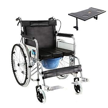 SXTYRL Silla de Ruedas autopropulsable para discapacitados con cinturón de Seguridad,Silla WC Ducha Pedal de Altura Ajustable Capacidad de Carga máxima de ...