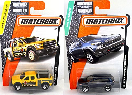 Matchbox Jeep Cherokee Trailhawk + MBX Construction Contractors truck set  Matchbox '15 Ford F-150 #38 #102 road vehicles