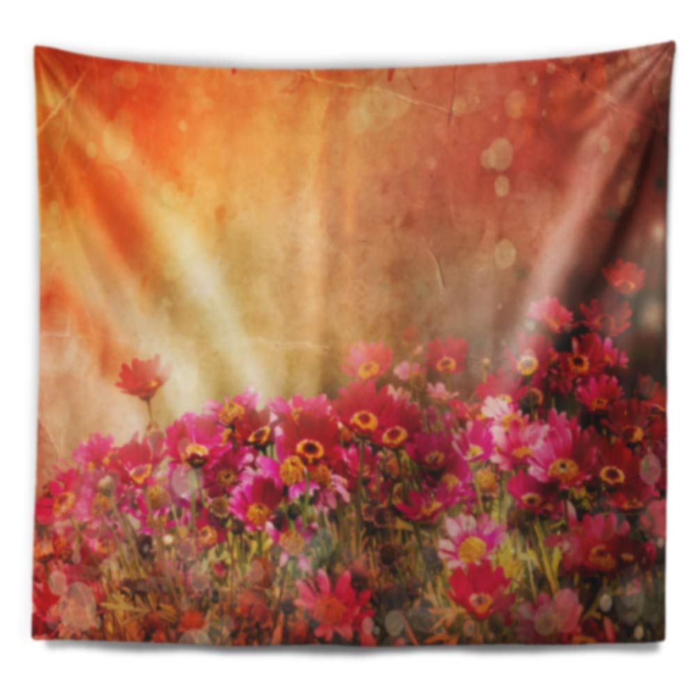 Designart TAP14152-39-32  Spring Little Flowers at Sunset Floral Blanket D/écor Art for Home and Office Wall Tapestry Medium x 32 in 39 in in