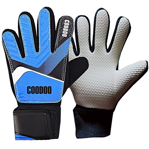 Youth & Kids goalie gloves (#5-#7), Protection your Finger, 3 mm Strong Grip German Latex Palm, Supportive Wrist Straps, Secure and Comfortable (Blue, Size 5) (Goalkeeper Gloves Soccer Goalie)