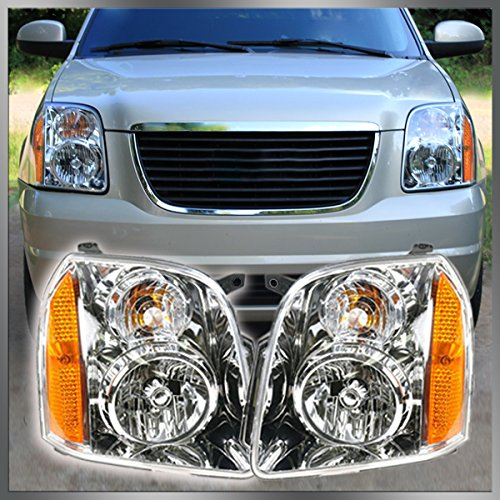 Headlights Headlamps Left & Right Pair Set of 2 for 07-13 GMC Yukon SUV (Milky Flat Way)