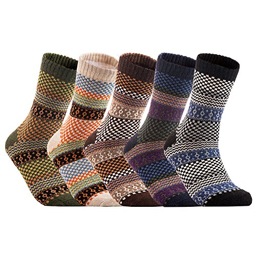 Lian LifeStyle Women's 5 Pairs Warm Casual Angora Crew Winter Socks Classic Square HM1401 Size 7-10 (Cashmere Angora Wool)