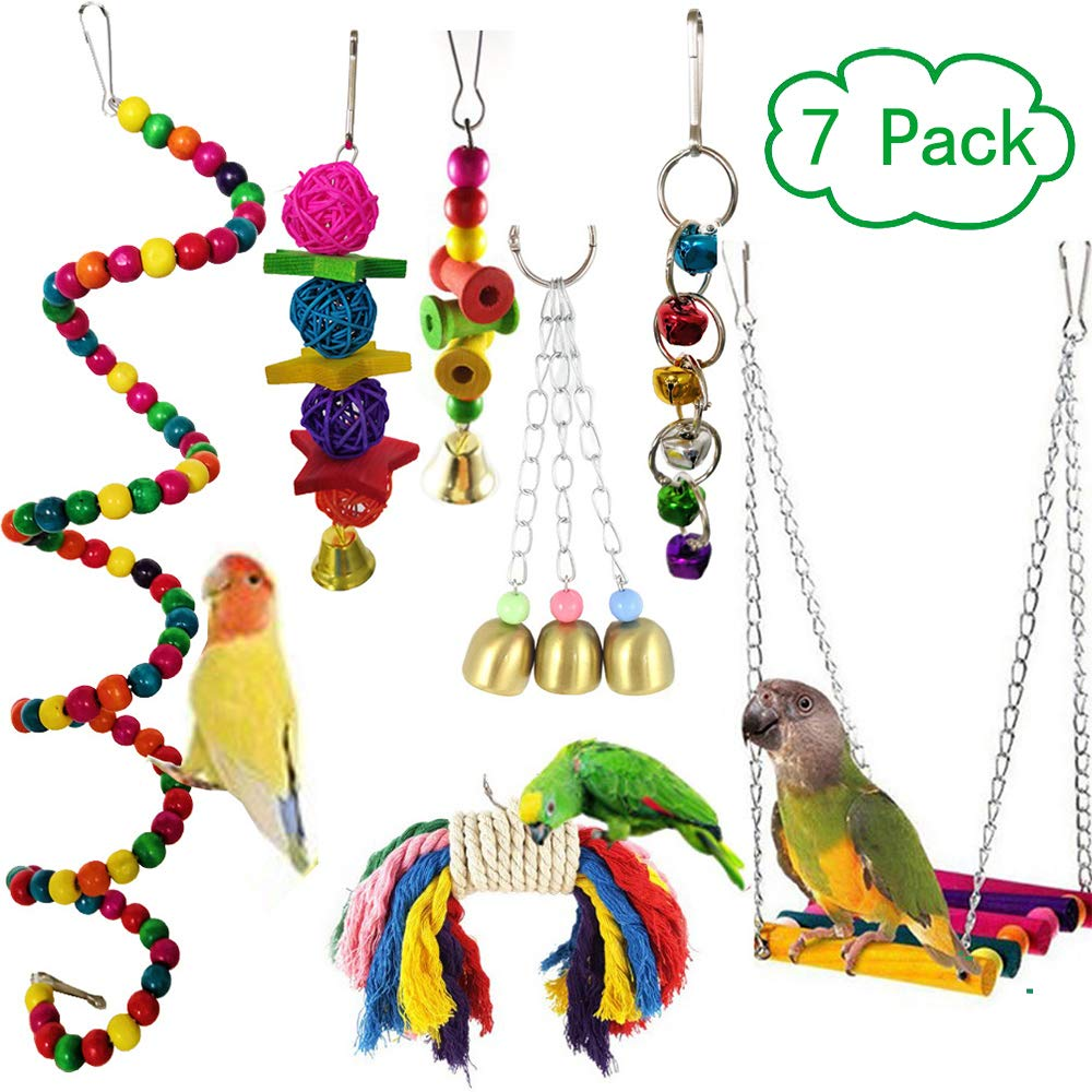 SNKINE Bird Swing Parakeet Toys 7pcs Parrot Chewing Hanging Bell Toys Bird Cage Perch Toys for Small Parakeets Parrots, Love Birds, Cockatiels, Finches, Parrots, Conures, Macaws, Budgie by SNKINE