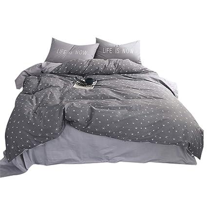 Lovely FenDie Stars Printed Duvet Cover Set Queen Grey Teens Bedding Set For Boys  Cotton Reversible Pattern