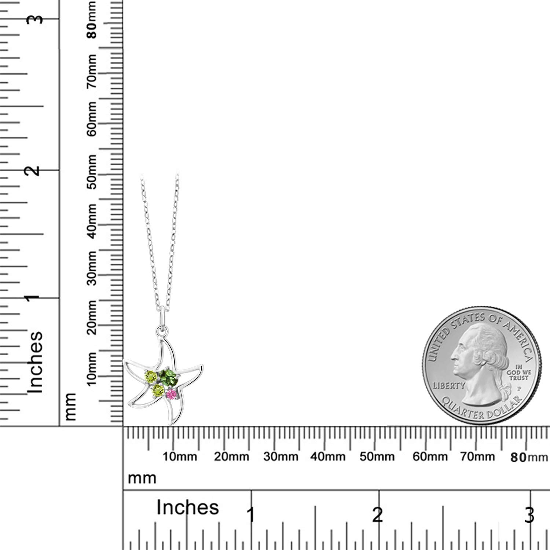 Gem Stone King 0.32 Ct Oval Green Tourmaline Green Peridot 925 Sterling Silver Starfish Necklace