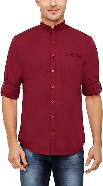 nick&jess - Camisa Casual - Básico - Cuello Mao - Manga Larga - para Hombre Morado Morado XX-Large: Amazon.es: Ropa y accesorios