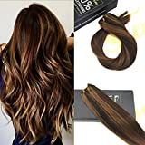 Sunny Dip Dye Darkest Brown with Caramel Blonde Human Hair Weave 1 Bundle Brazilian Remy Straight Hair Extensions Weft 24inch 100g