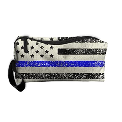 4ae05c56f03c durable modeling Distressed Thin Blue Line American Flag Vintage Travel  Cosmetic Zipper Bags Makeup Bags Clutch