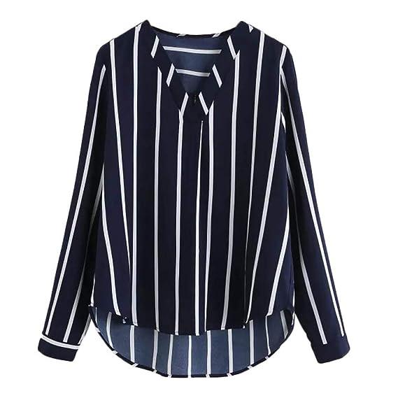 2018 Camiseta para Mujer con Cuello en V Camiseta Básica Suelta de Manga Larga bajo Dobladillo Alto: Amazon.es: Ropa y accesorios
