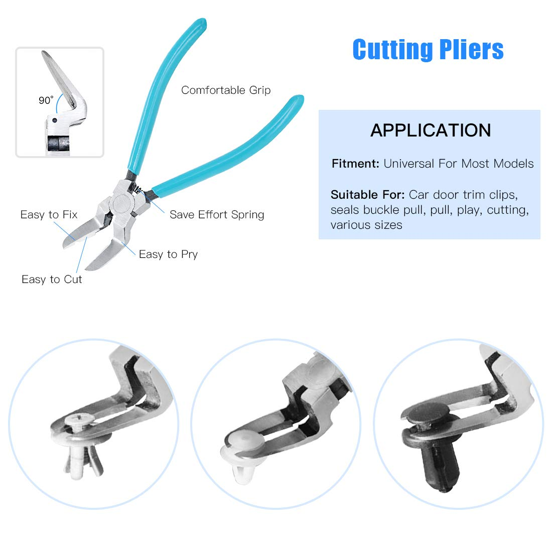 Glarks 11Pcs Auto Trim Removal Tool Kit Universal Car Panel Trim Upholstery Rivets Clip Puller Plier Fastener Remover Automotive Door Panel Trim Removal Tool for Car Door Panel Dashboard