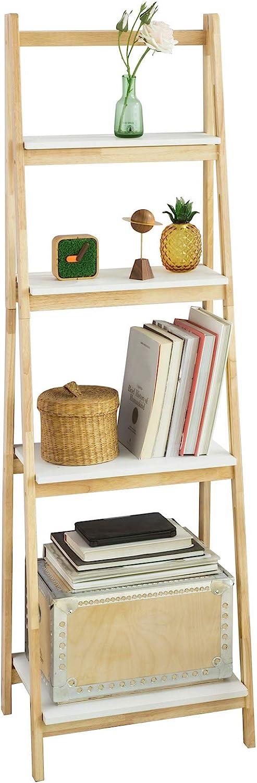 SoBuy® FRG162-N, 4 Tiers Foldable Ladder Shelf Bookcase, Storage Display Shelving Unit