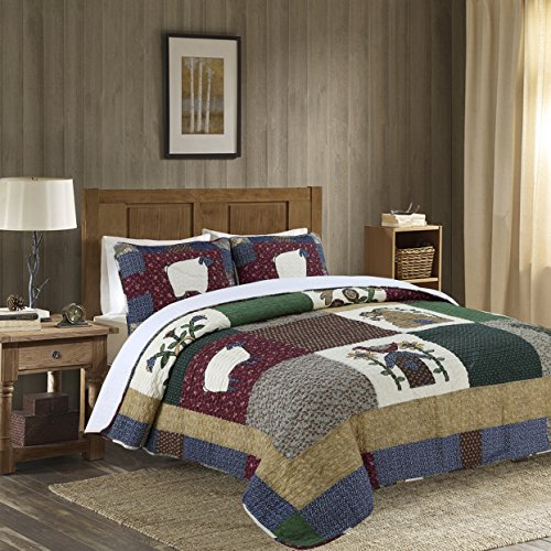 3-Piece Quilt Set 100%Cotton, Bedspread Set, Finely Stitched, Coverlet Bed-cover, Washable Durable by PERYOUN