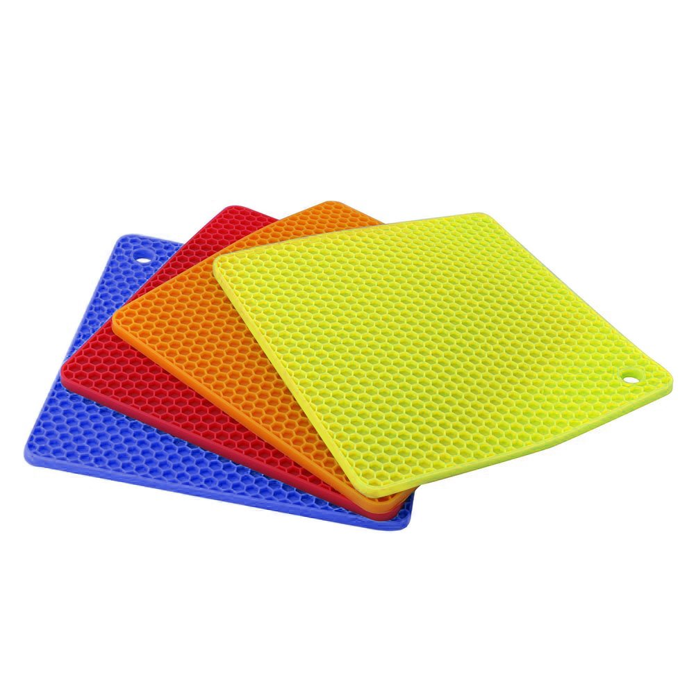 Anti-Heat 250/°C Multi-Purpose Spoon Rest Coasters Kitchen Table Mat for Cooking /& Dining 4PCS Non-Slip Pot Holders 18CM*18CM~BLACK flintronic Silicone Trivets