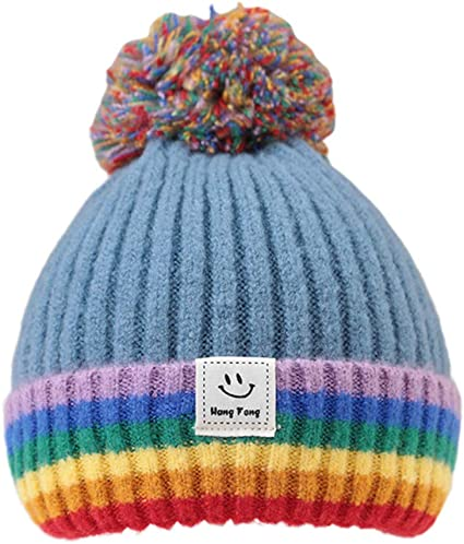 Birthday or Christmas gift. Rainbow multicolored knitted warm winter beanie hat