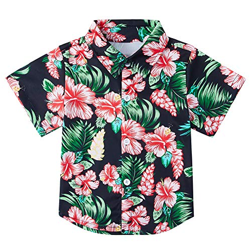 - Baby Boys' Floral Leaves Hawaiian Tropical Shirts Button Up Toddler Polo Dress Shirts Vacation Blouse Aloha Summer Beachwear 7-8T