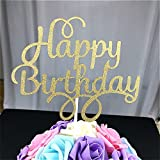 2 Pack Happy Birthday Cake Topper Glitter Party Event Decorations Gold