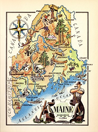 Whimsical Maine Map 1940s Picture Map of Maine Print Fishing Boats Logging Hunting Indian Compass (Logging Boat)