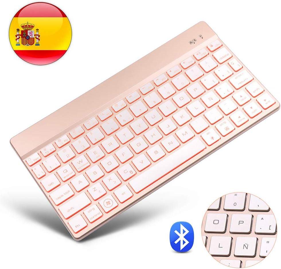 Bluetooth 3.0 Inalámbrico Teclado, Dingrich Universal Teclado 7 Colores Retroiluminados Compatible with Samsung Tablet, iPads, Android y Windows (Teclado Español)