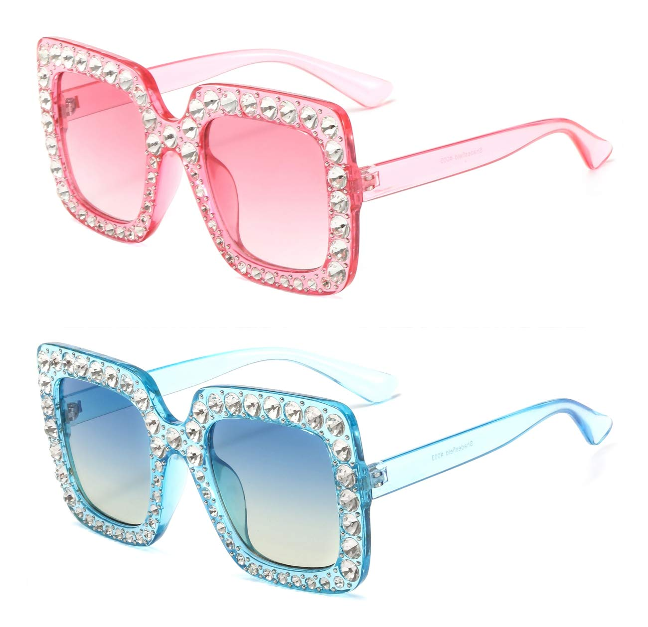 04cbc21fc2c MAOLEN Square and Round Oversized Gradient Shades Crystal Sunglasses for  Women (square blue-blue and square pink-pink)