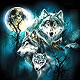 DIY 5D Embroidery Diamond Paintings Rhinestone Pasted diy painting Cross Stitch,Full Drill Horse Vintage Wall Sticker Home Decor ,Wolf
