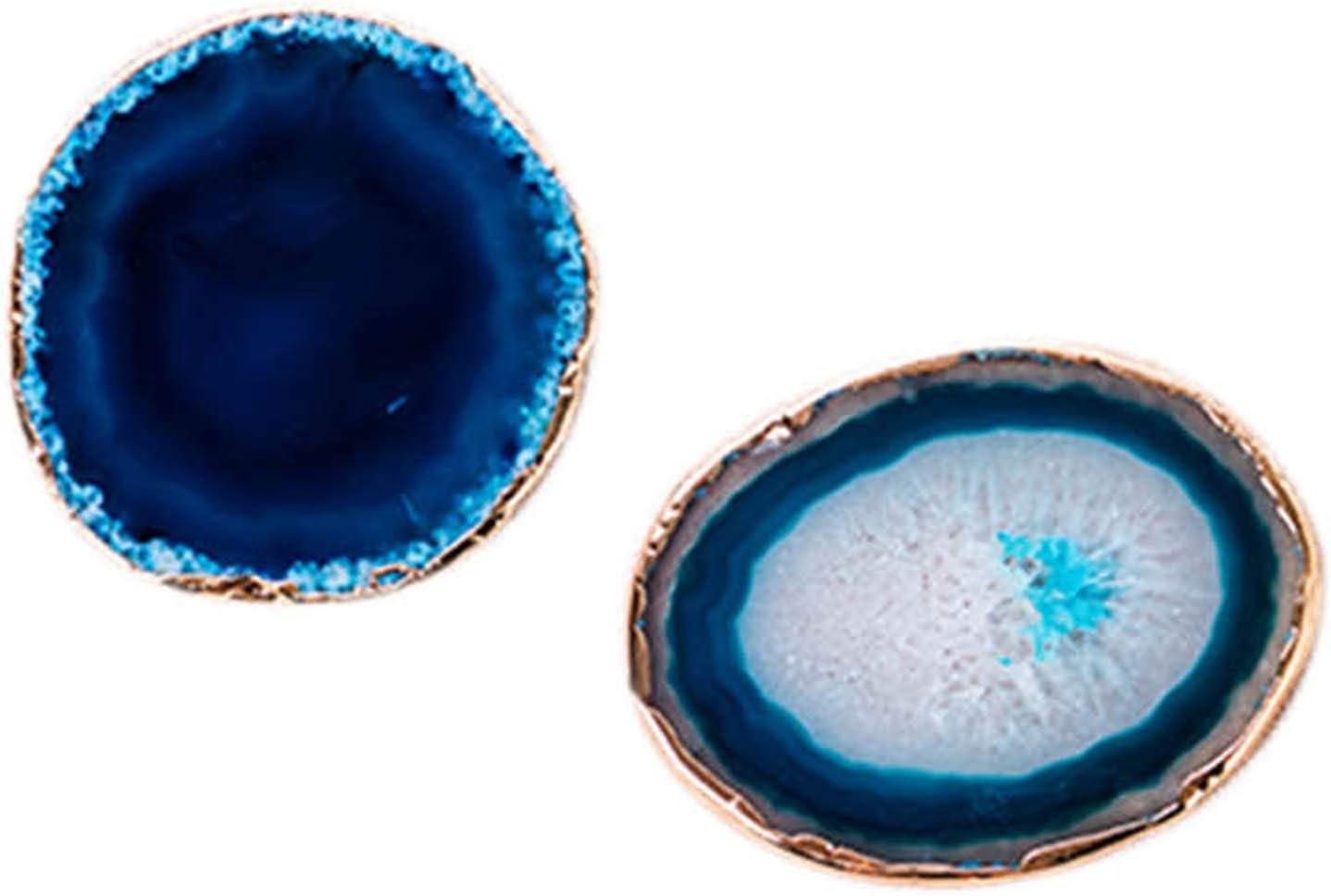 Xigeapg 2 Piezas Posavasos De Agata Azul Rebanada De Agata Bandeja De La Taza De Te Diseno Decorativo De Piedra Decoracion del Hogar De Bordes De Oro Posavasos De Piedras Preciosas