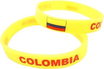 AccessCube Unisex País Bandera Nacional de Silicona Pulsera de Goma de Moda Pulsera Brazalete (Colombia): Amazon.es: Deportes y aire libre