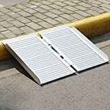 ORFORD Home Steps Stairs Doorways Wheelchair Ramp Utility Mobility Access Non Skid Folding Wheelchair Ramp, Portable Aluminum Foldable Threshold Wheelchair Ramp 2ft
