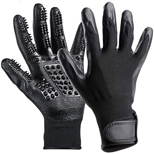 Yesjoy Pet Grooming Gloves,De-Shedding Hair Remover Mitt Brush Glove for Dogs,Cat,Horse,Massage Bathing Brushes Tool for Both Lond & Short Fur Pets (Massage Brush Horse)