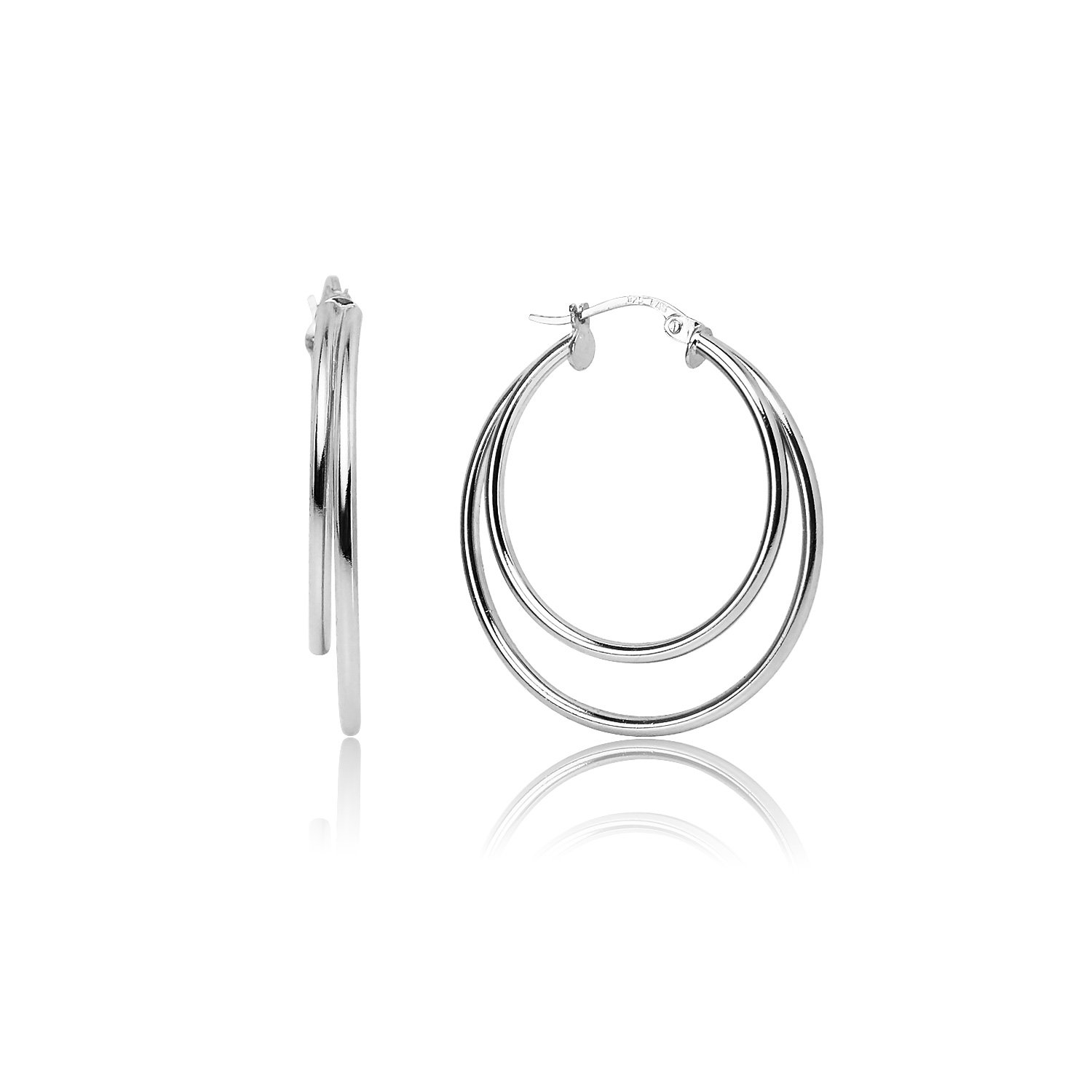 LOVVE Sterling Silver High Polished 30mm Double Circle Round Click-Top Hoop Earrings