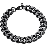 FindChic Curb Chain Bracelet for Men or Women 18K Gold Plated/Stainless Steel/Black Chunky Wrist Link Chains Bracelets for Bo