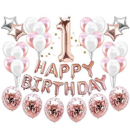 qin-er Balloons Globo de cumpleaños de 1 año, Globos de ...