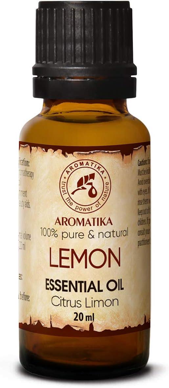 Aceite Esencial de Limón 20ml - Citrus Limon Sin Diluir - Italia - 100% Puro y Natural - para Aliviar la Tensión - Buen Sueño - Ambientación - Mejor para la Belleza - Aromaterapia - Aroma Lámparas