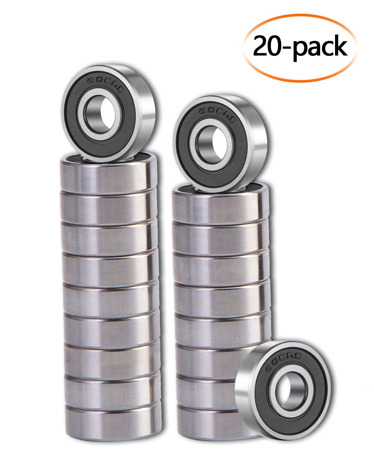 [20 Pack]608-2RS Ball Bearings – Bearing Steel and Double Rubber Sealed Miniature Deep Groove Ball Bearings for Skateboards, Inline Skates, Scooters (8mm x 22mm x 7mm)