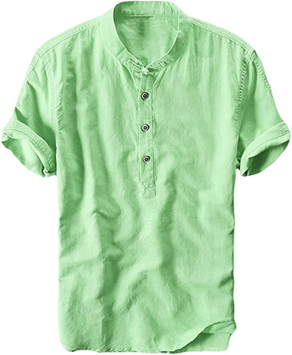 ad3a050d3c6 Amazon.com  Mens Cotton Linen Shirts Beach Short Sleeve Frog Button Up Tops  Lightweight Tees Plain Summer Mandarin Collar Blouses  Clothing