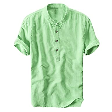 a38b2e3f Mens Linen Shirts Short Sleeve Beach Henley Shirt Summer Button Up Tops  Cotton Lightweight Tees Plain