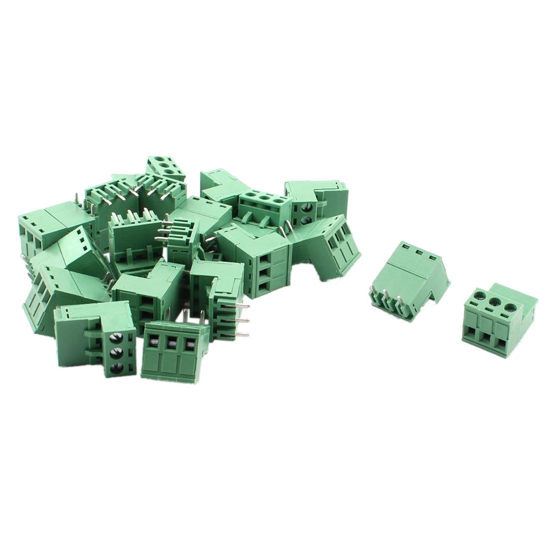 Bloque de terminal de tornillo - SODIAL(R)20 piezas 5.08 mm 3 vias Bloque de terminal de tornillo de montaje en PCB para 14-22 AWG alambre