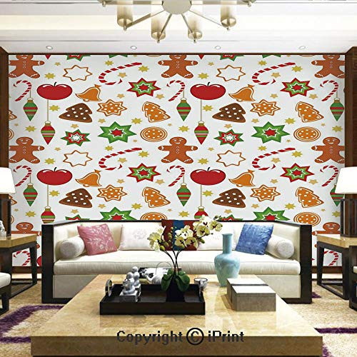 Wallpaper Nature Poster Art Photo Decor Wall Mural for Living Room,Festive Christmas Icons Graphic Pattern Star Figures Cookies Apples Bells Decorative,Home Decor - 66x96 inches