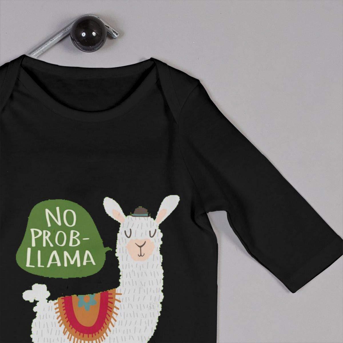 Gary Katte No Prob-Lla-ma Newborn Jumpsuit Infant Baby Girls Long-Sleeve Bodysuit Playsuit Outfits Clothes Black